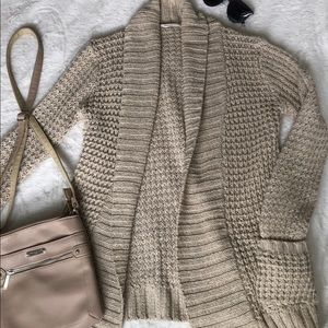 Thick-knit beige cardigan